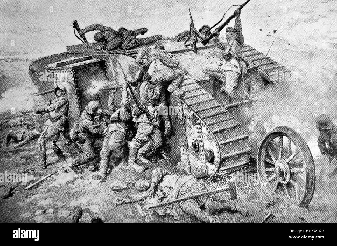 Contemporary World War One illustration of a futile attack by German soldiers on a British tank in France. - Stock Image