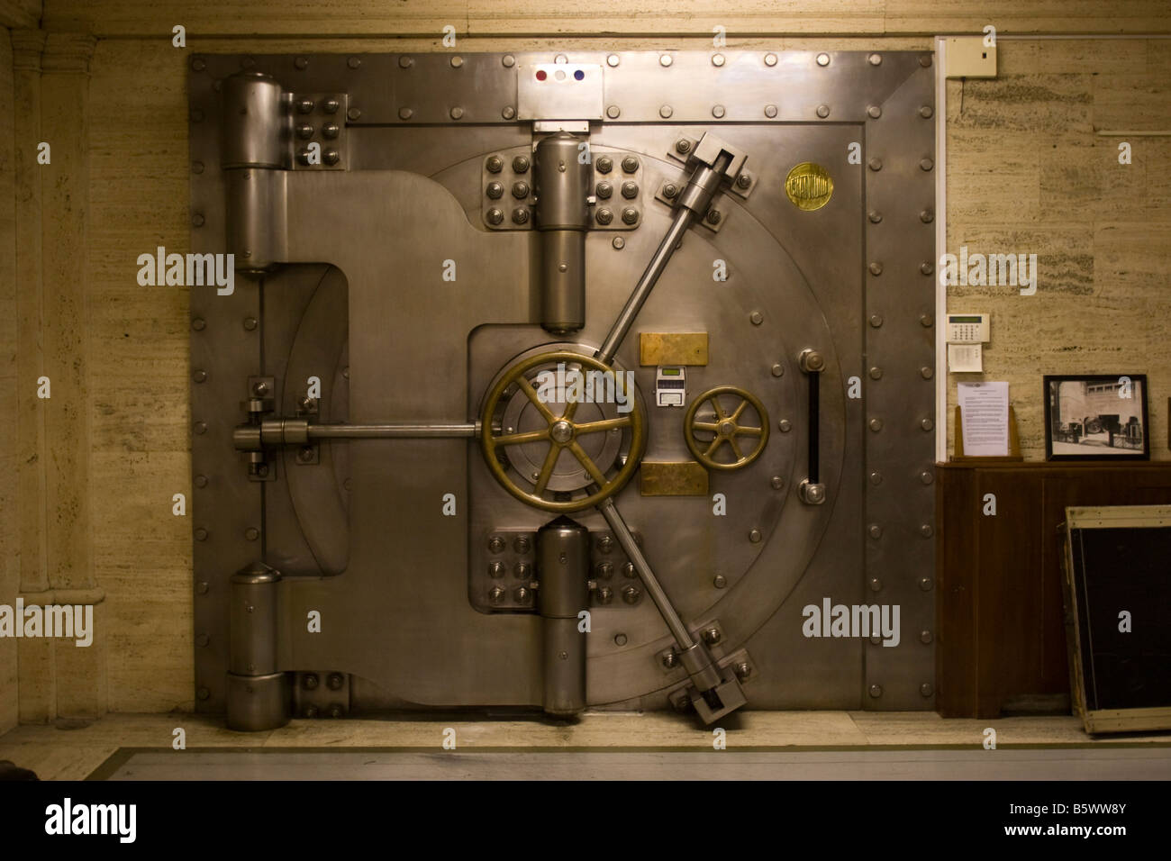 Closed Bank vault door City of London GB UK - Stock Image