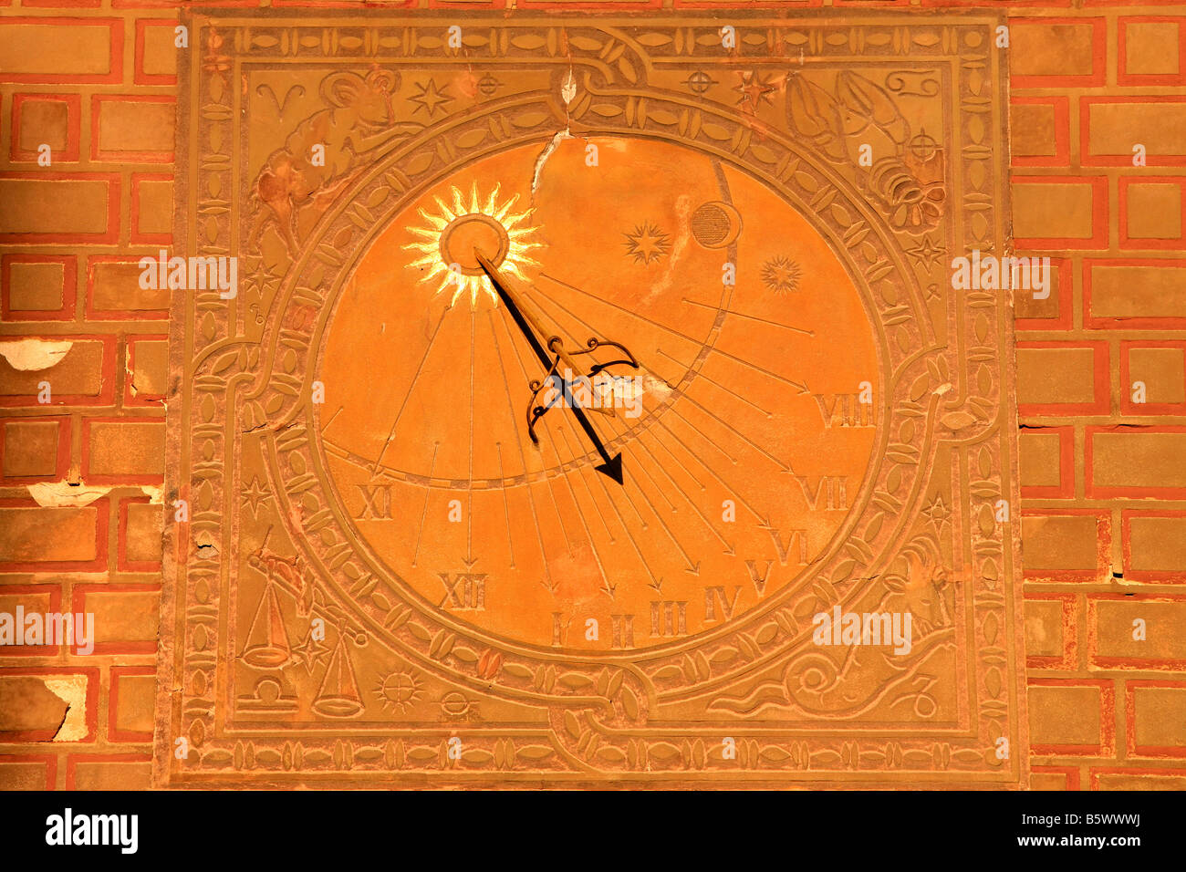 Sundial in the Old Town, Warsaw, Poland, Europe - Stock Image