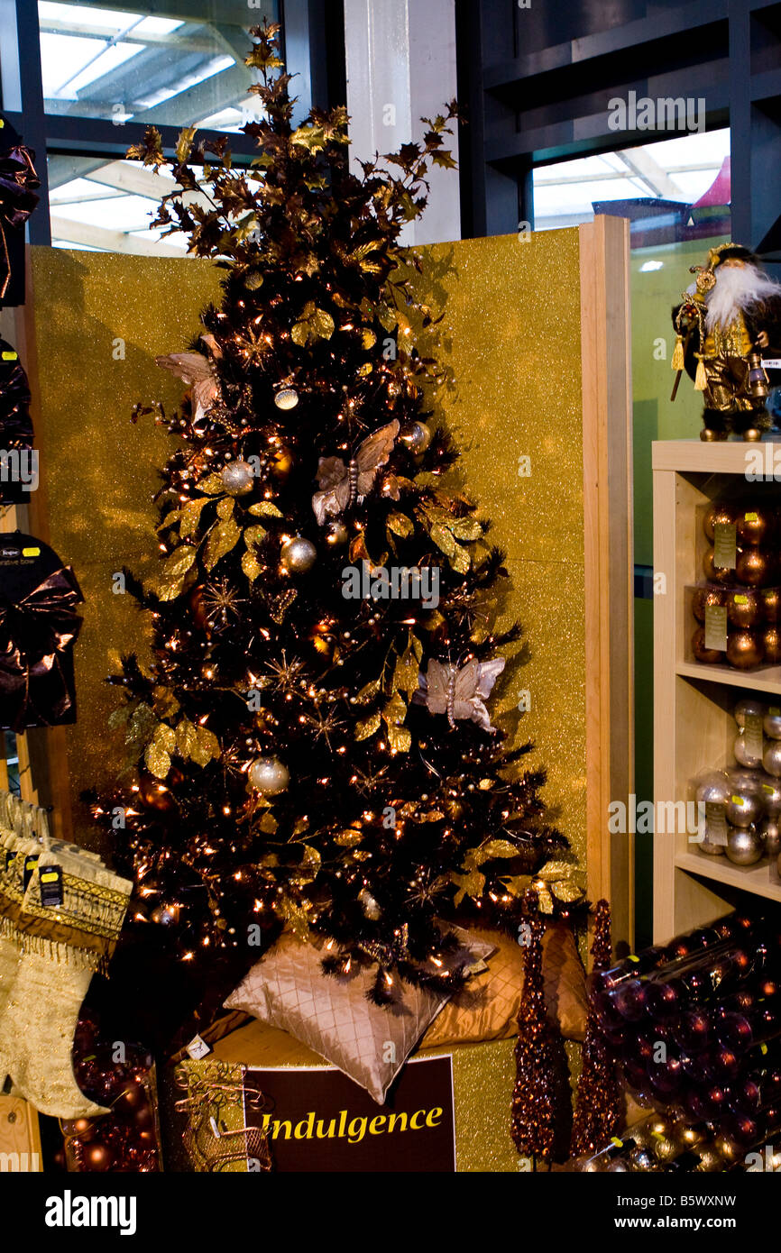 Black Xmas Christmas Tree With Gold Silver Decorations Stock Photo Alamy