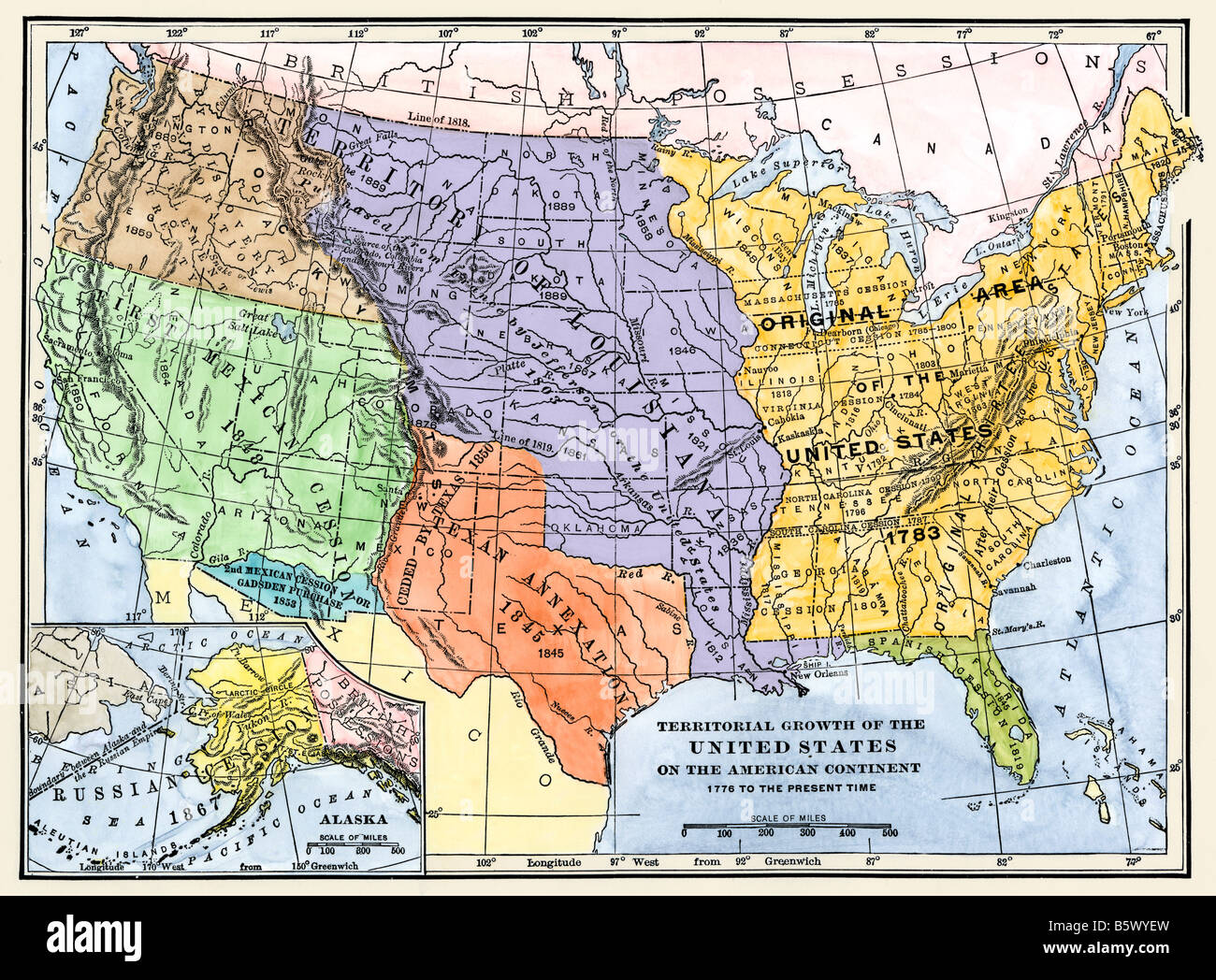 Image of: Map Showing Territorial Growth Of The Continental Us 1776 To 1899 Stock Photo Alamy