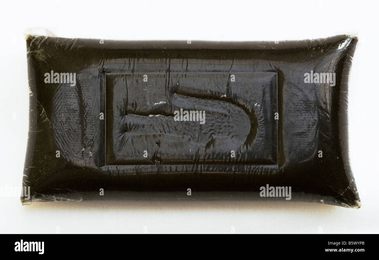 Nine Ounces of Soapbar Hashish Embossed with Alligator Lacoste Logo - Stock Image