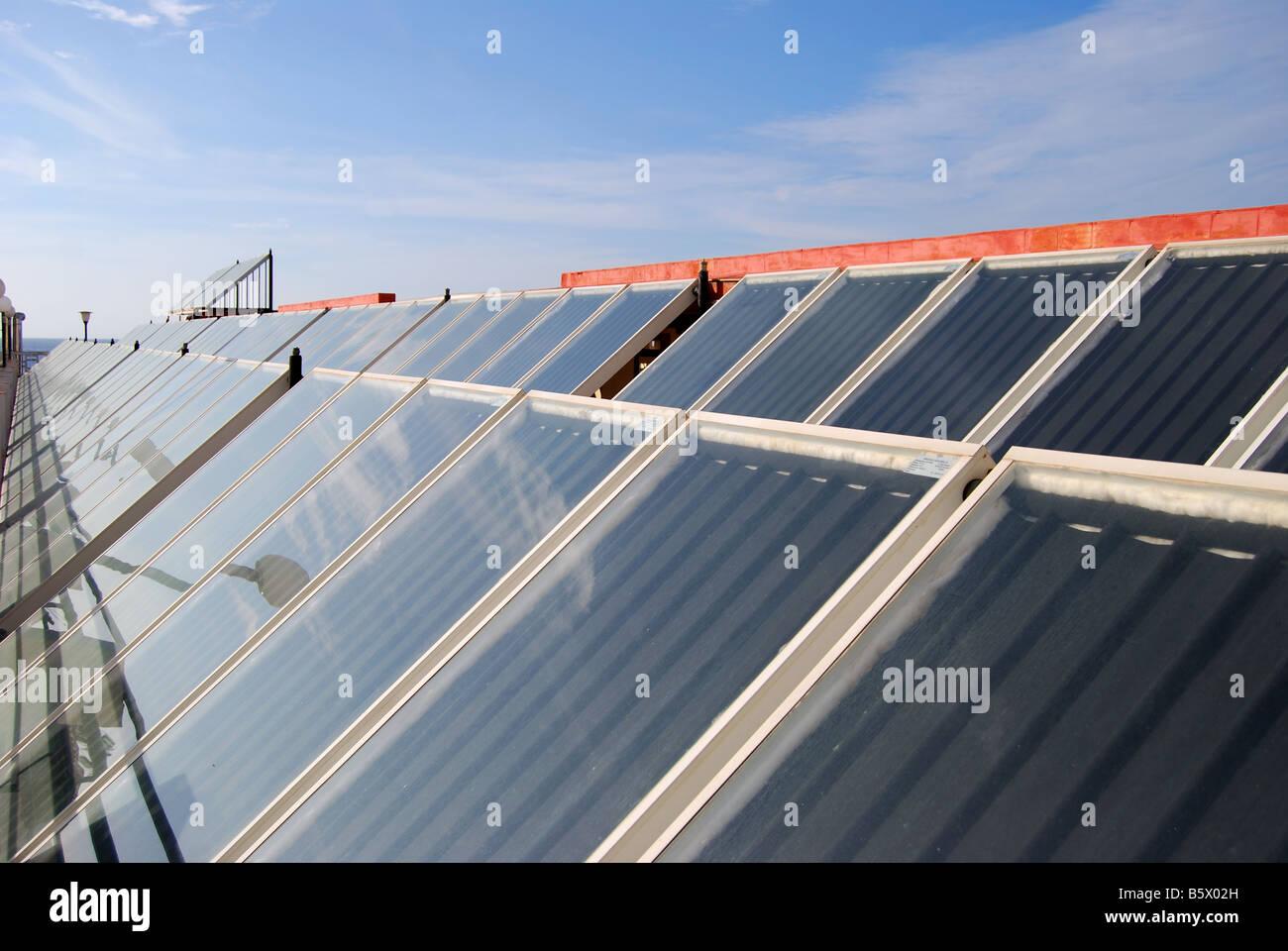 Hotel solar panels, Puerto de La Cruz, Tenerife, Canary Islands, Spain - Stock Image