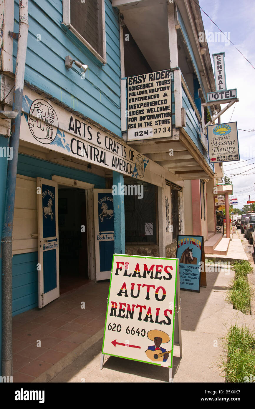 SAN IGNACIO, BELIZE - Sidewalk sign on Burns Avenue. - Stock Image