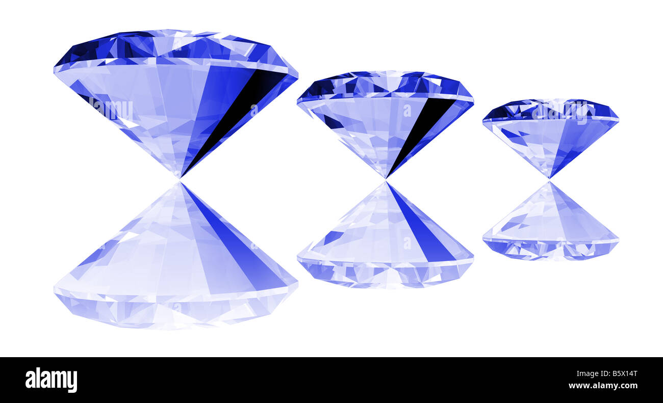 A 3d illustration of a sapphire gem isolated on a white background - Stock Image