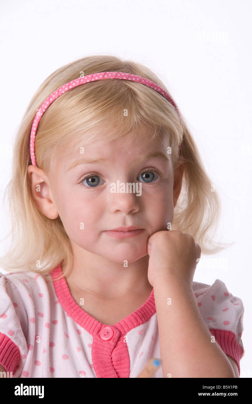 Portrait of a little blond girl - Stock Image