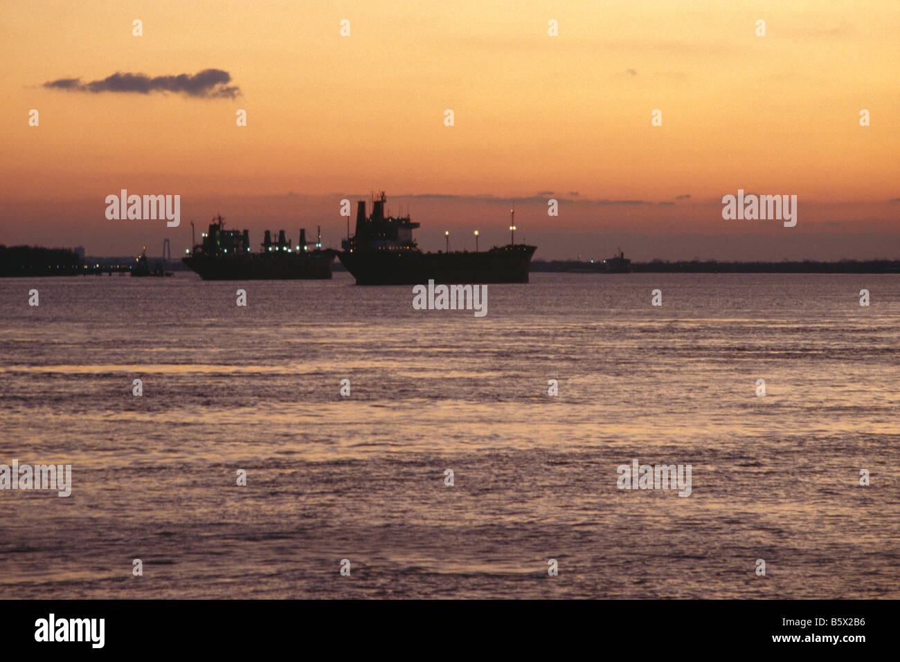 Ships on the Mississippi River near New Orleans Louisiana USA - Stock Image