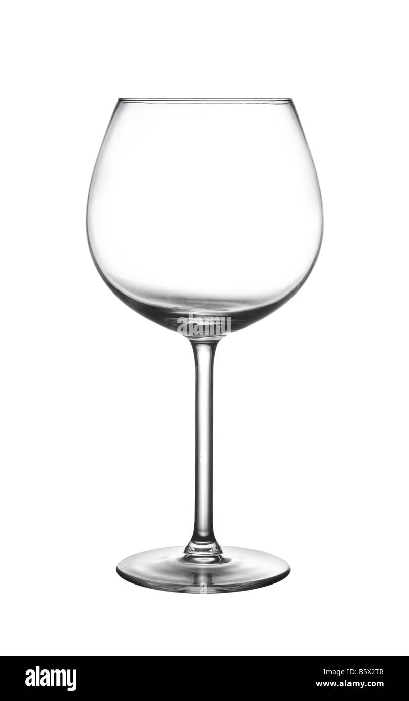 Wine glass cutout isolated on white background - Stock Image