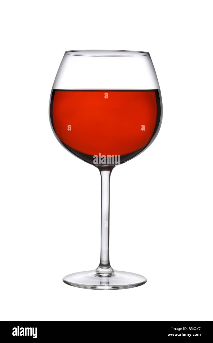 Glass of red wine cutout isolated on white background - Stock Image