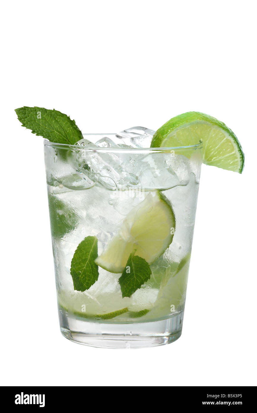 Mojito drink with limes and mint cutout isolated on white background - Stock Image