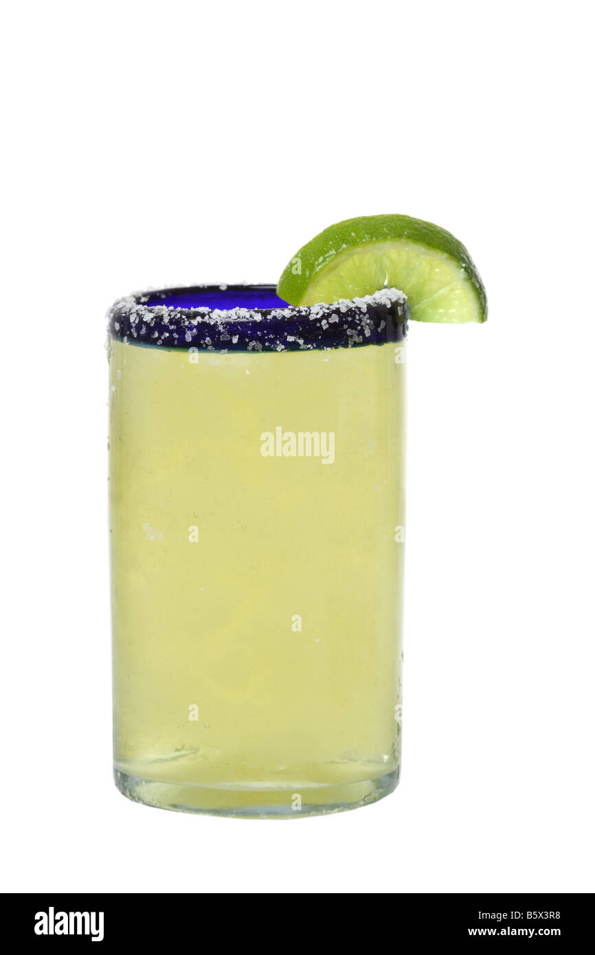Margarita with lime cutout isolated on white background - Stock Image