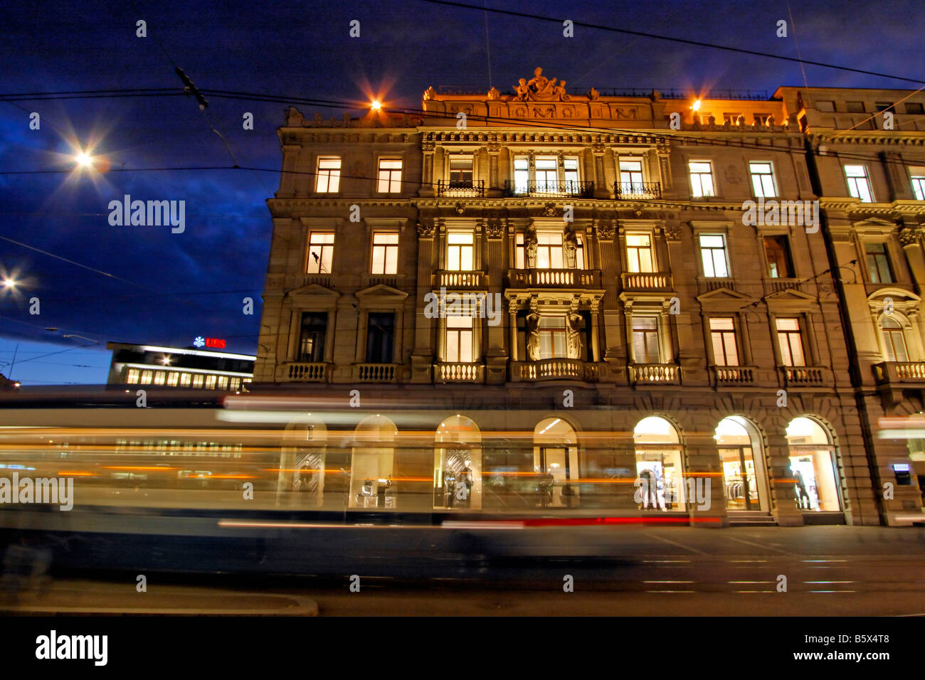 Bank UBS and Credit Suisse Bank at Paradeplatz Tram Zurich Switzerland - Stock Image