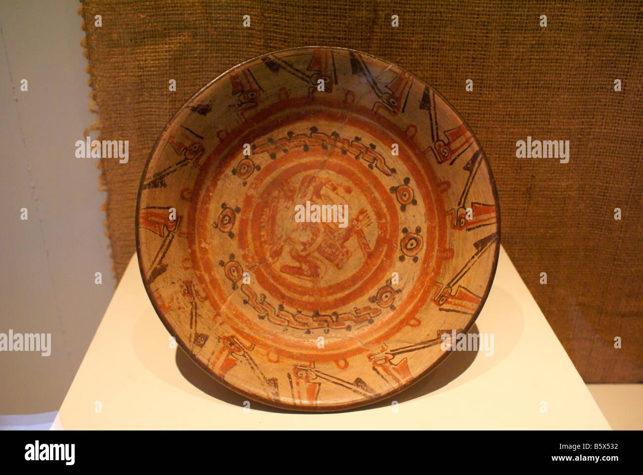 Mayan jaguar plate in the Museo Nacional de Antropologia David J Guzman national anthropology museum in San Salvador - Stock Image