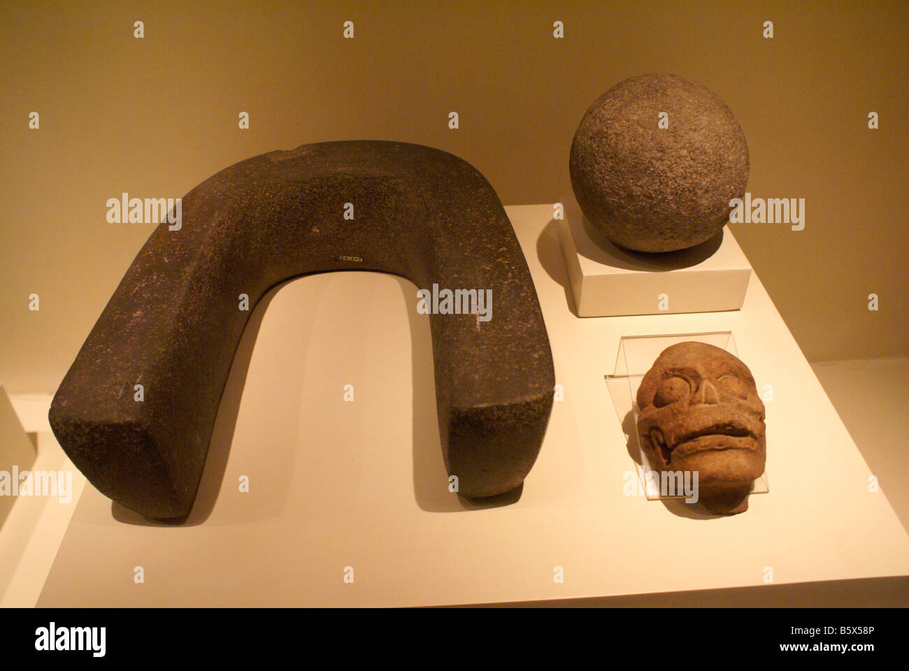 Mayan ball game artifacts in the Museo Nacional de Antropologia David J Guzman national anthropology museum  in - Stock Image