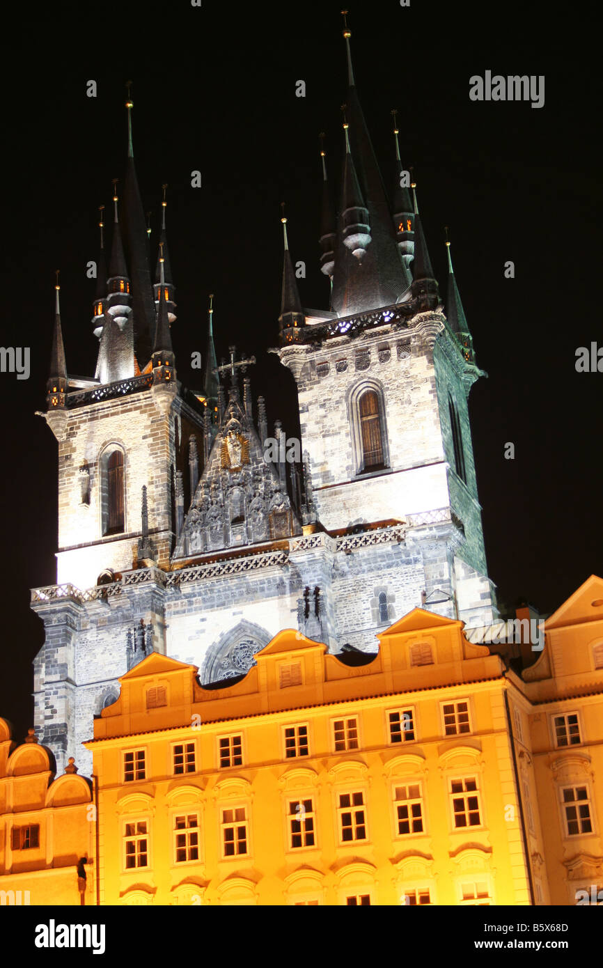 Tyn Church on Oldtime square in Prague Czech in the night - Stock Image