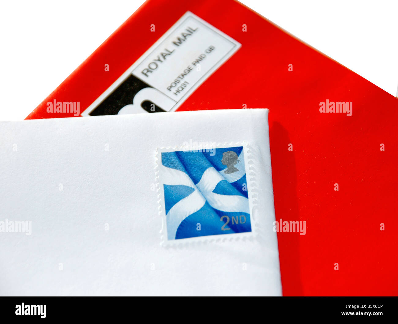 b87417b000a2 A red and white stamped envelope - depicting the scottish saltire flag. -  Stock Image