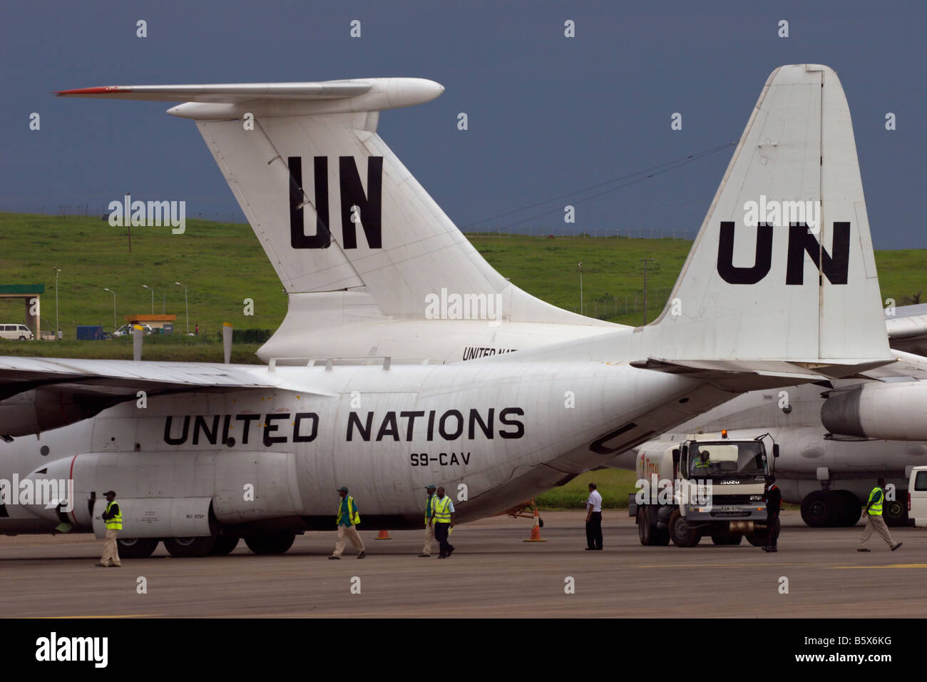 UN united nations aircraft hercules turboprop africa - Stock Image