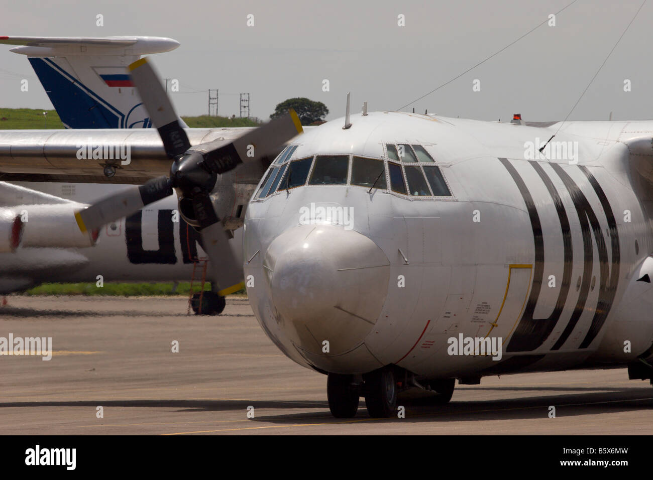 UN united nations aircraft hercules turboprop africa relief support airlift - Stock Image