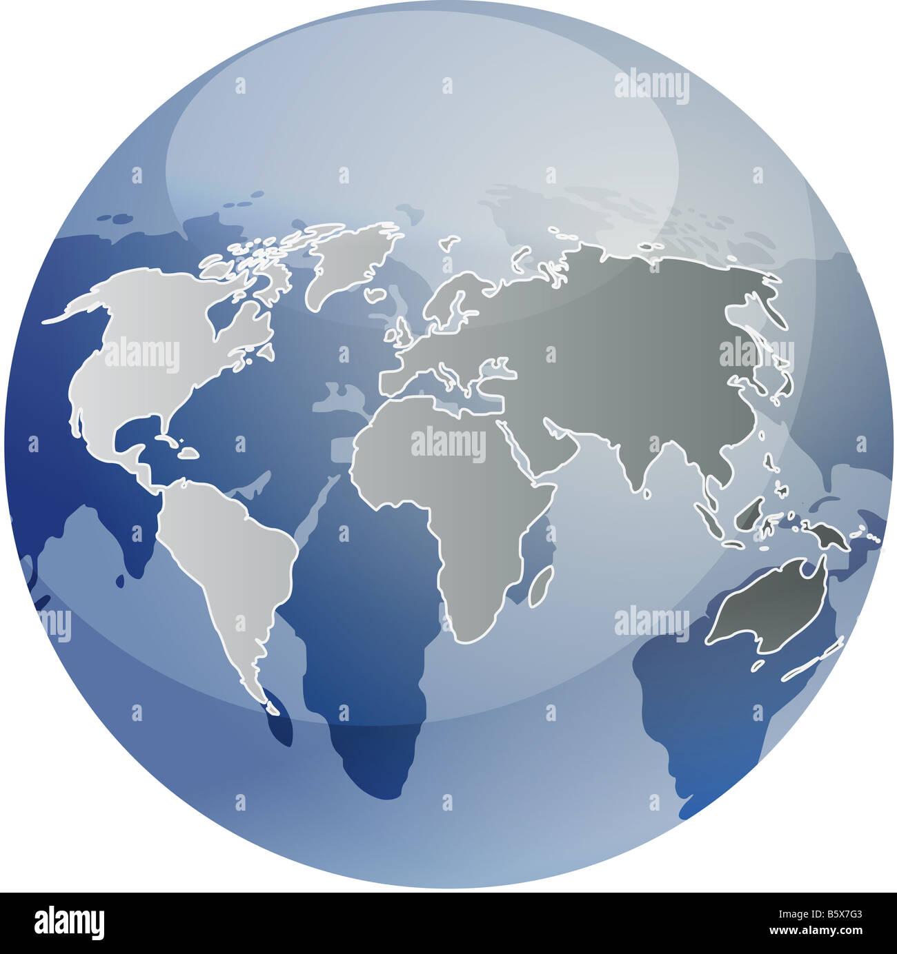 Spherical World Map.Map Of The World Illustration On Glossy Spherical Globe Stock Photo