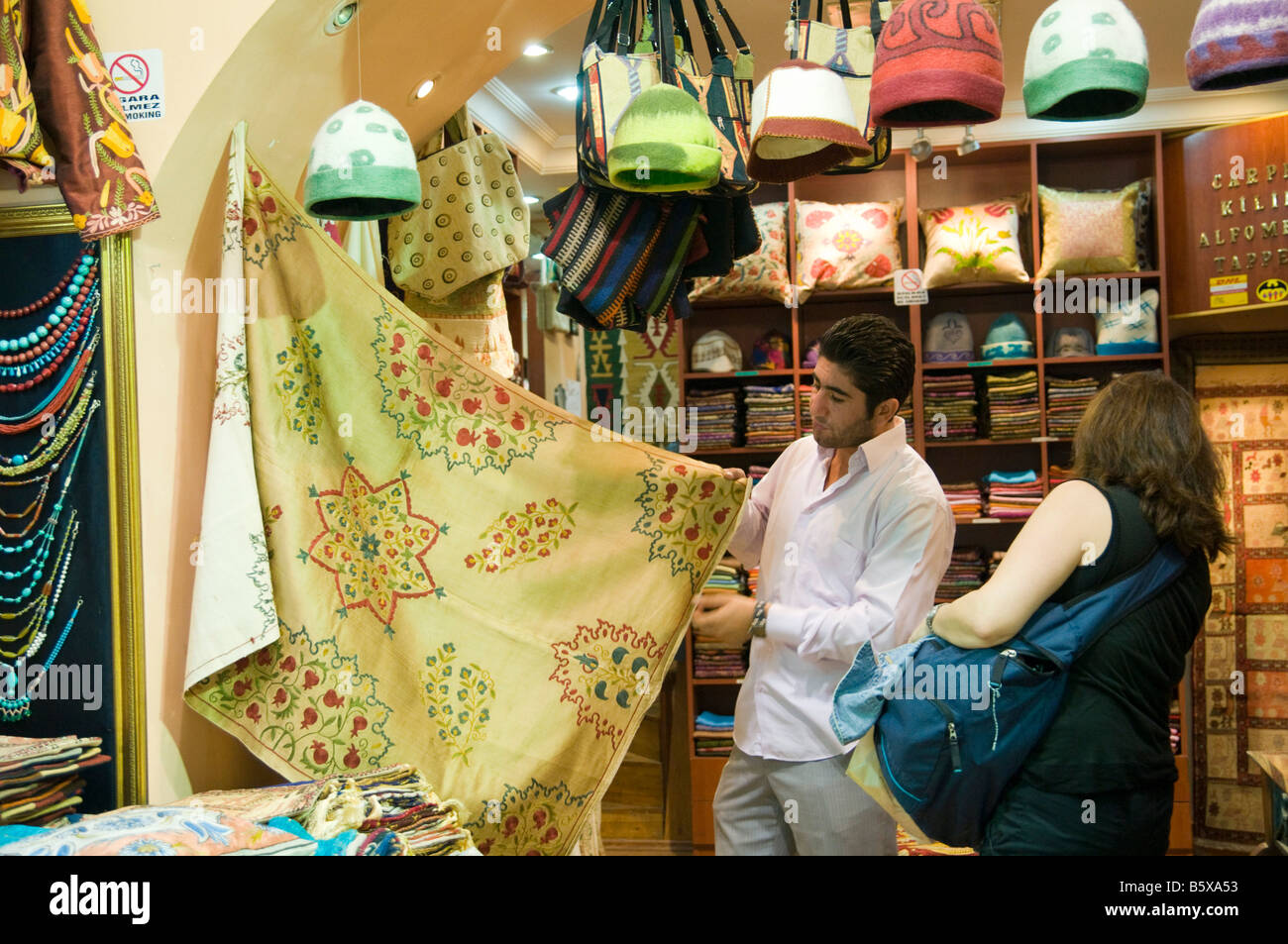 Turkey Istanbul The Spice Bazaar a linen stall - Stock Image