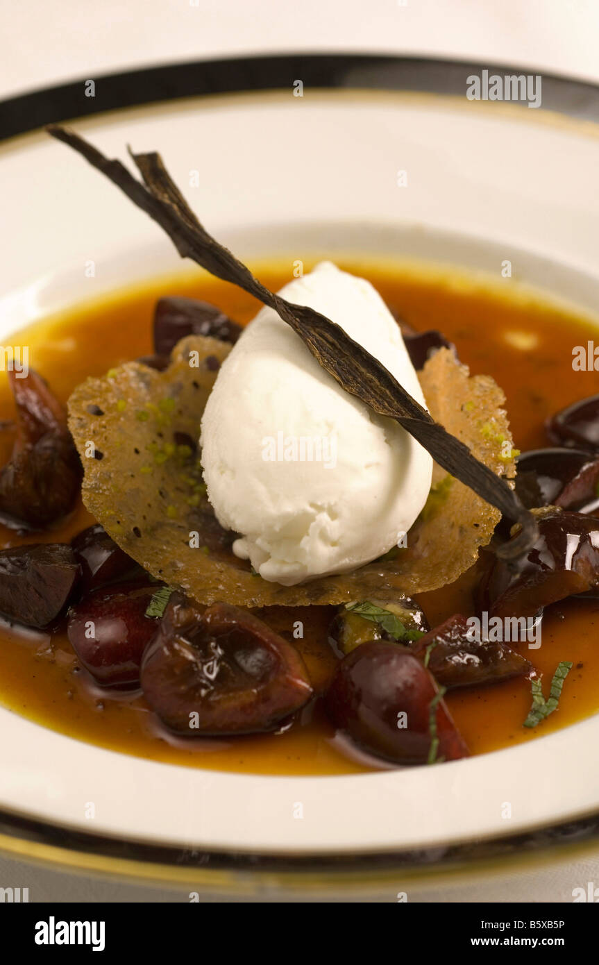 Cream with cherries  Sergio Mej chef  Four Seasons Hotel  Milan  Lombardy  Italy - Stock Image