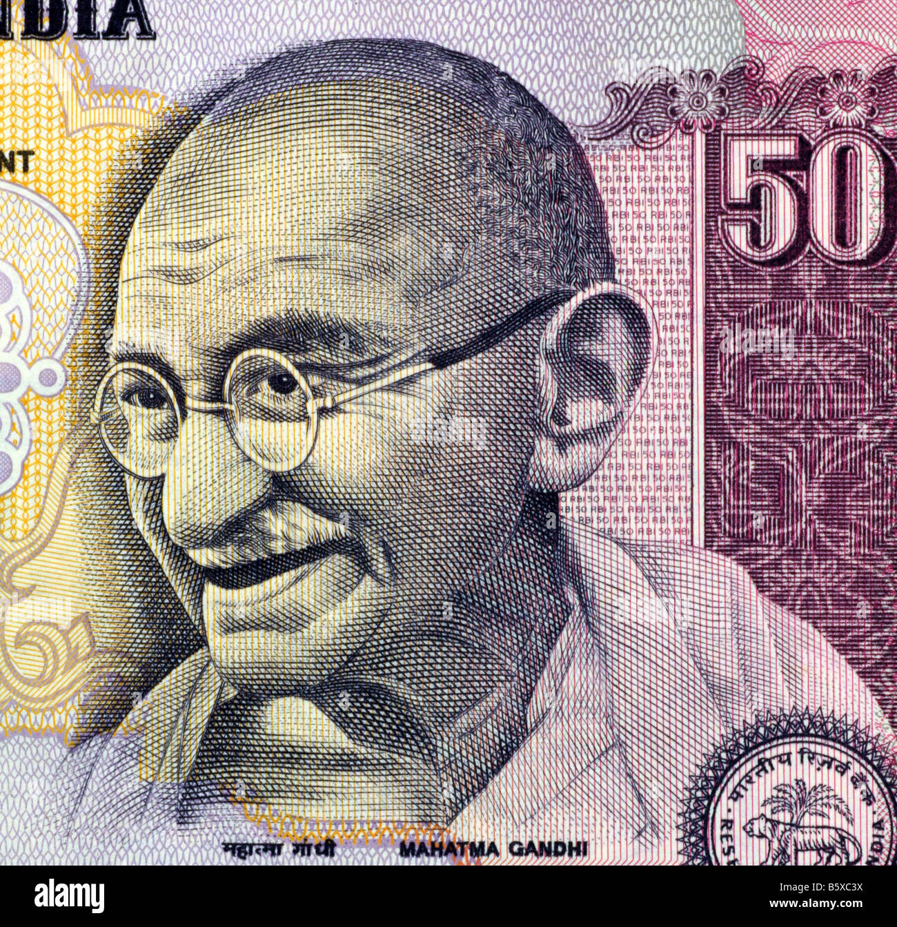 Gandhi on 50 rupees banknote from India - Stock Image