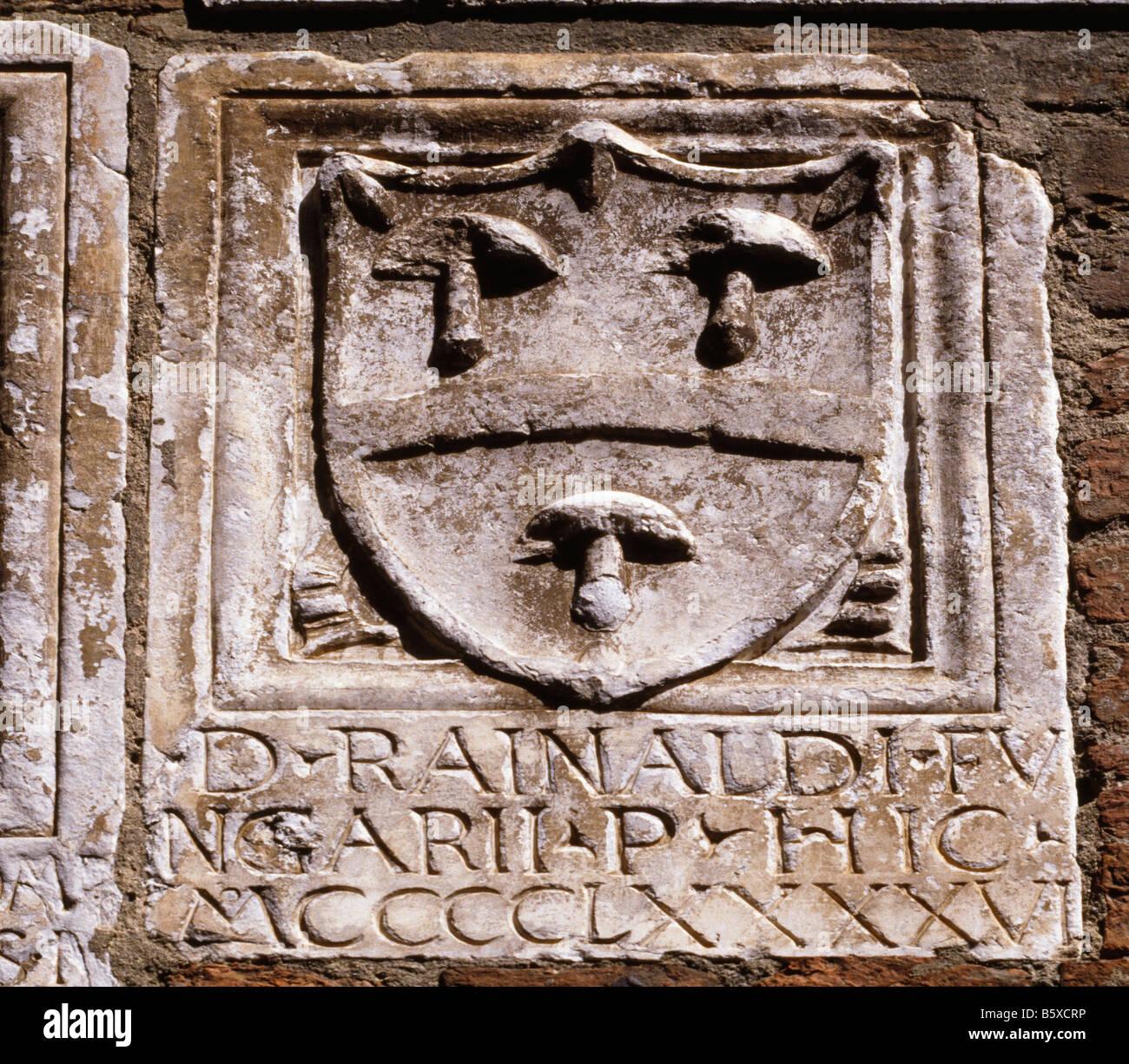 Heraldic Shields On Wall - Stock Image