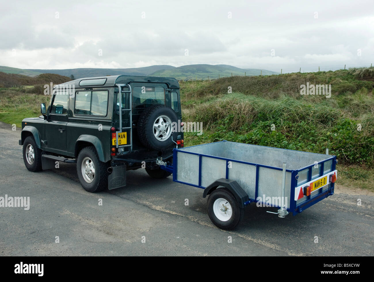 land rover defender with small trailer stock photo 20864589 alamy