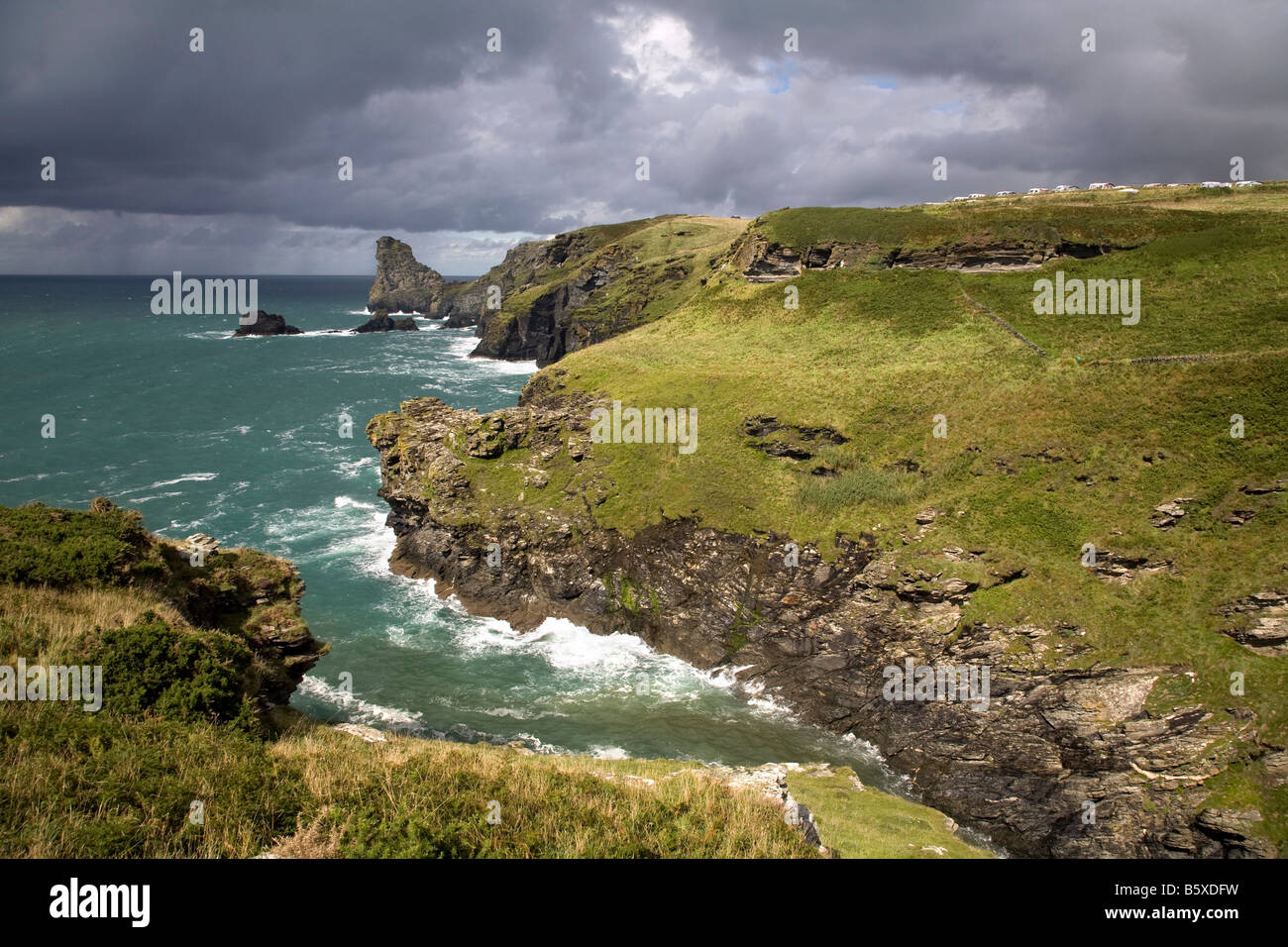 long island from rocky vally near tintagel cornwall - Stock Image
