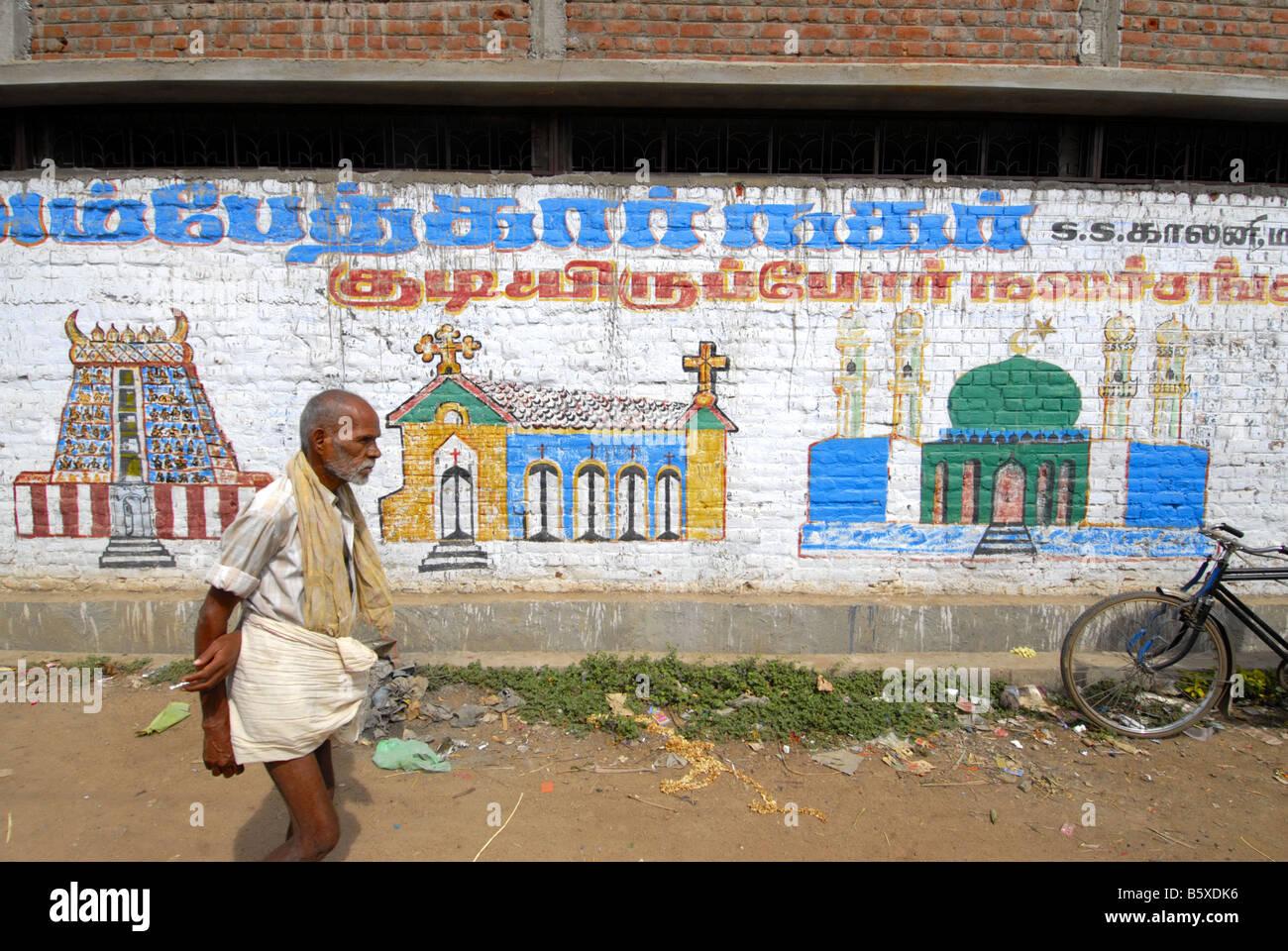 Graffiti On The Walls In A Street In Madurai Tamilnadu Stock Image
