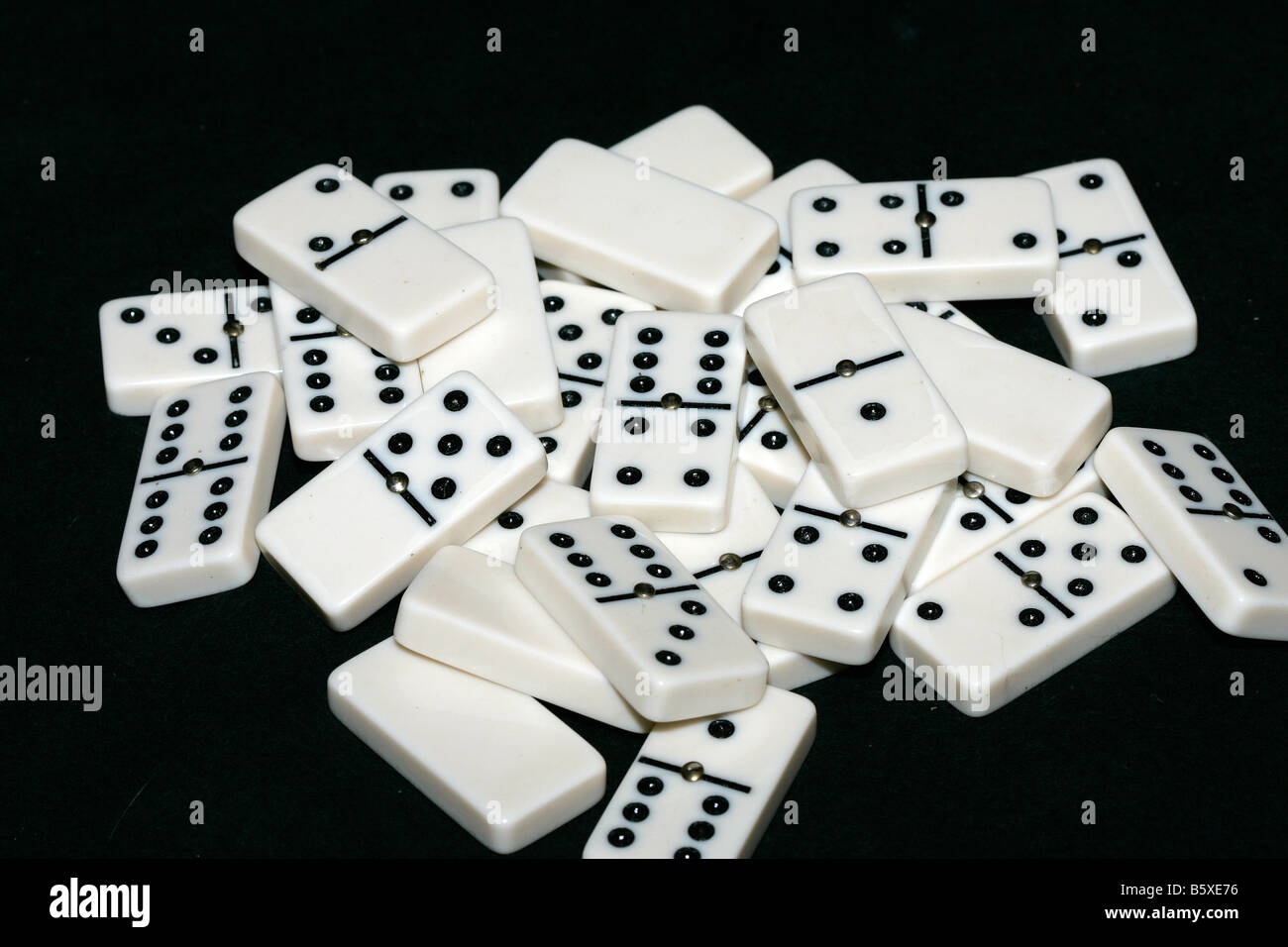 Domino set all in a pile Stock Photo