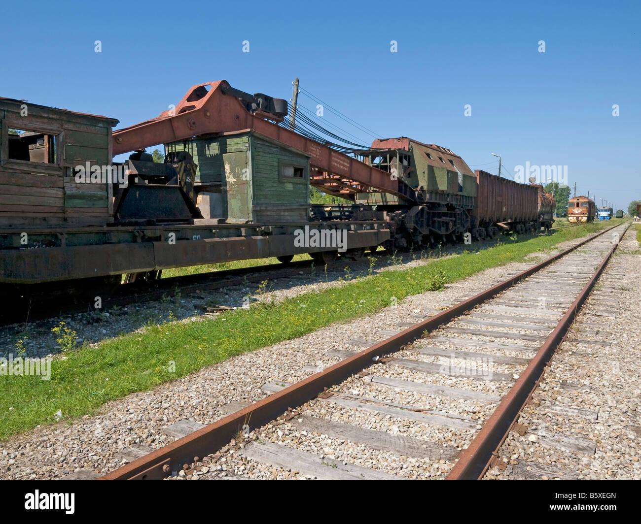 railway station with waggons of an old russian railway train Haapsalu Estonia Baltic states - Stock Image