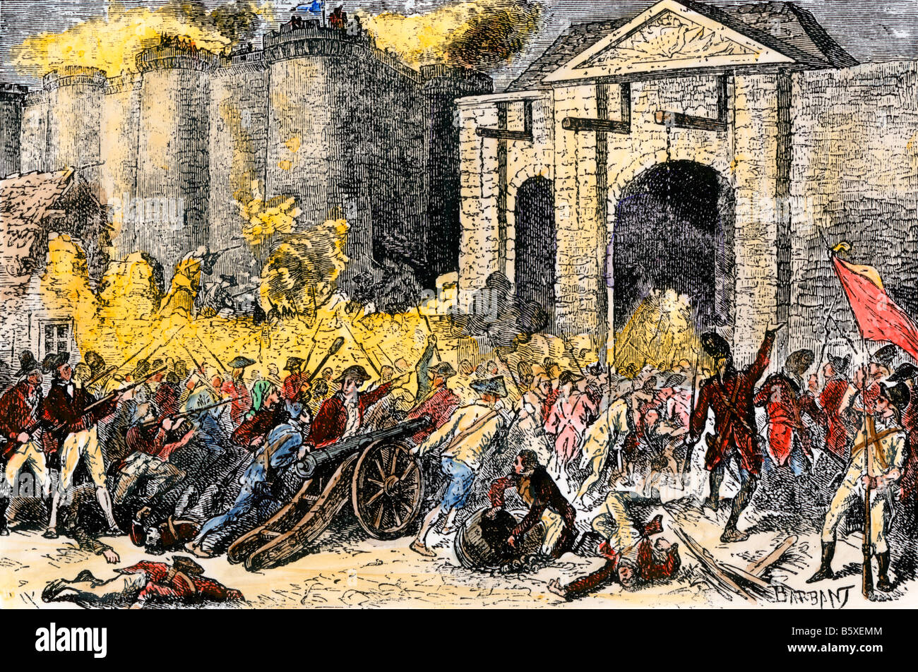 Capture of the Bastille French Revolution. Hand-colored woodcut - Stock Image