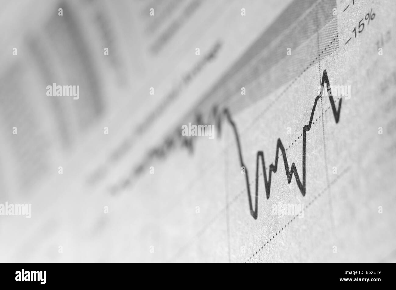 The financial business section of a newspaper. - Stock Image