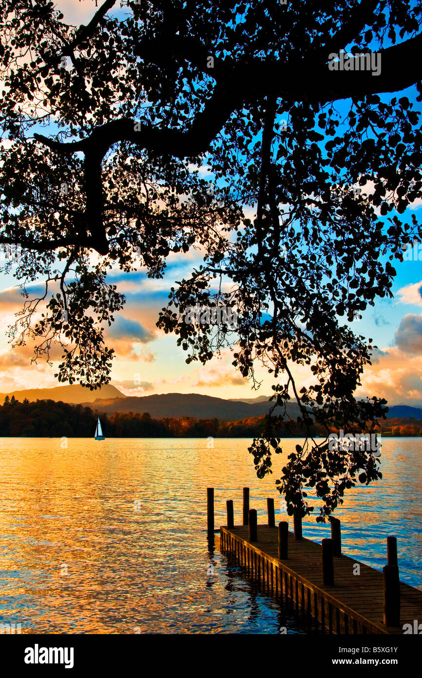 Sunset over Windermere in the Lake District Cumbria England UK - Stock Image
