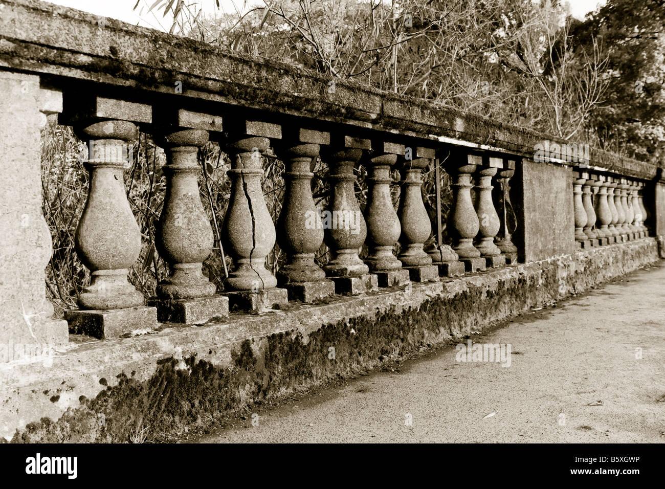 Old stone railings, Lymm Dam, Lymm, Warrington, Cheshire, England - Stock Image