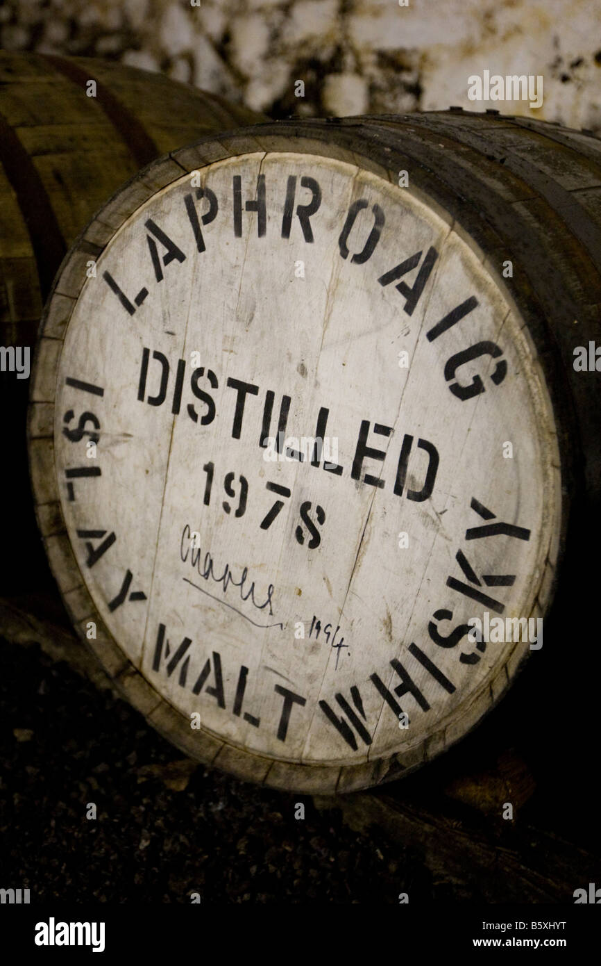 A cask of malt whisky, once owned by and signed by Prince Charles, Laphroaig  distillery, Islay, Inner Hebrides, - Stock Image