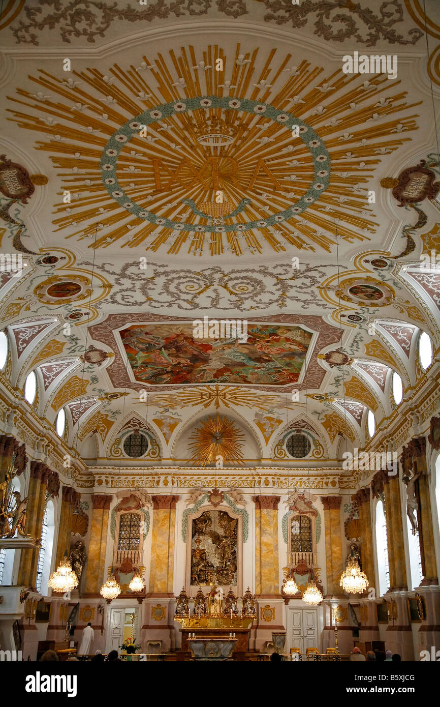Buergersaalkirche baroque rich ornaments at the ceiling Munic Bavaria Germany - Stock Image