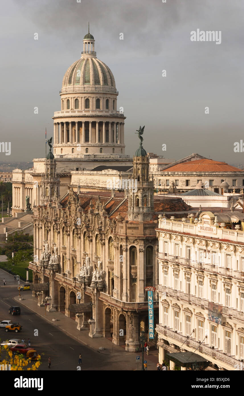 Capitolio Nacional with the Inglaterra hotel in the foreground, Havana, Cuba. - Stock Image