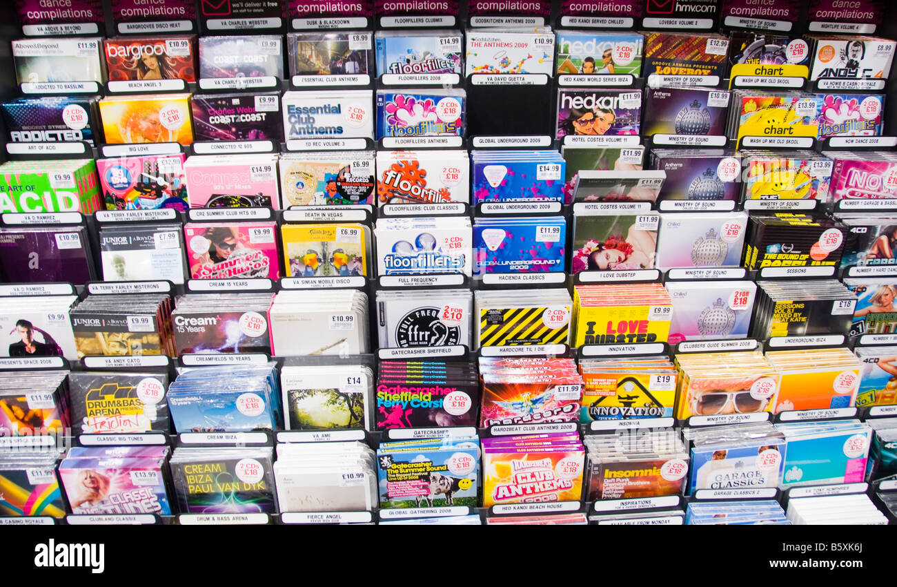 Dance music CD s for sale in a shop - Stock Image