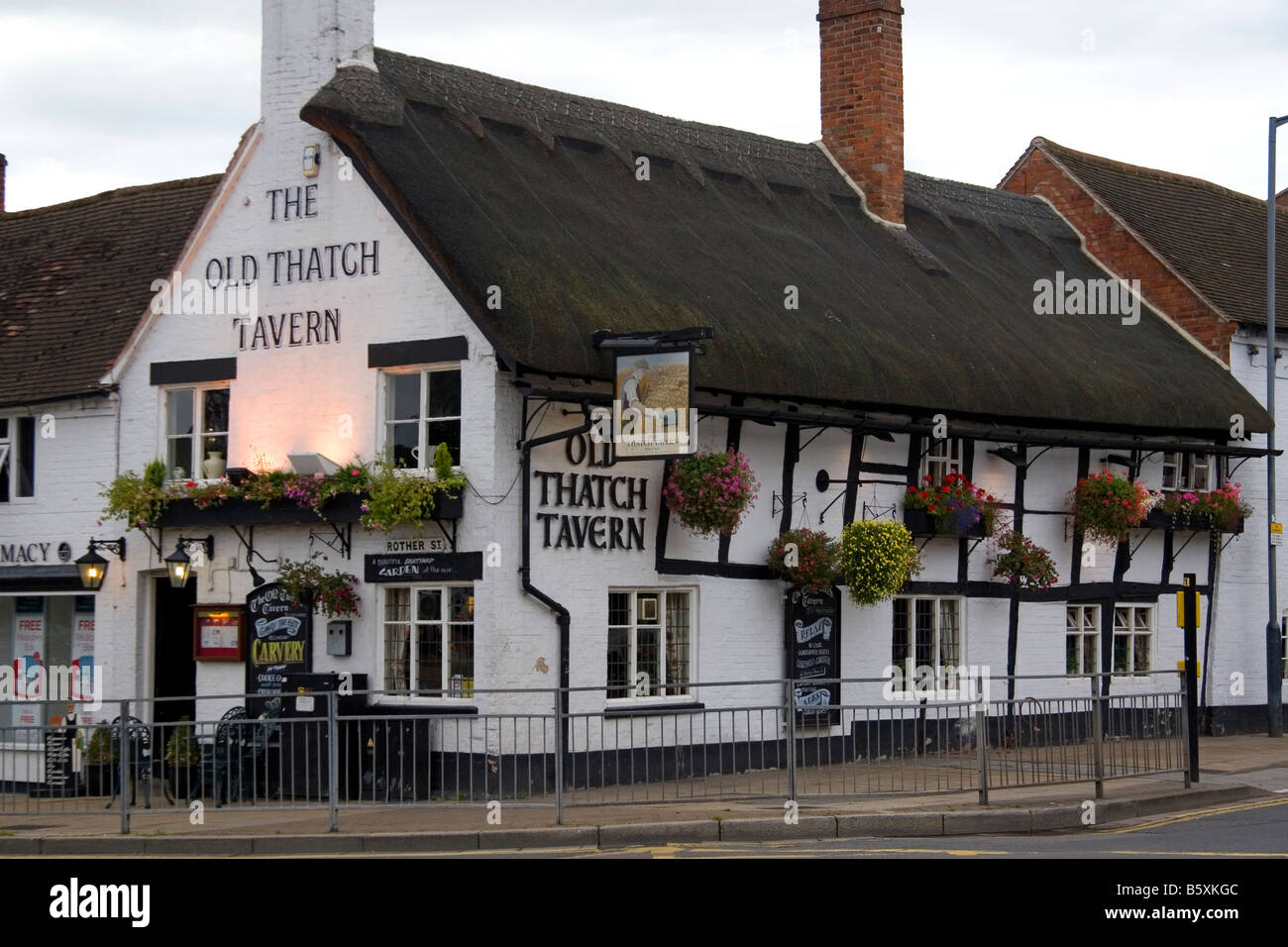 The Old Thatch Tavern in the market town of Stratford upon Avon Warwickshire England - Stock Image
