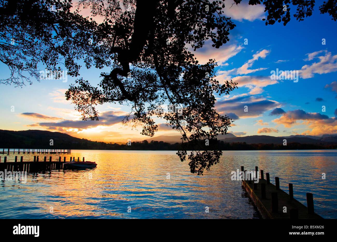 Sunset over Lake Windermere Lake District Cumbria England UK - Stock Image