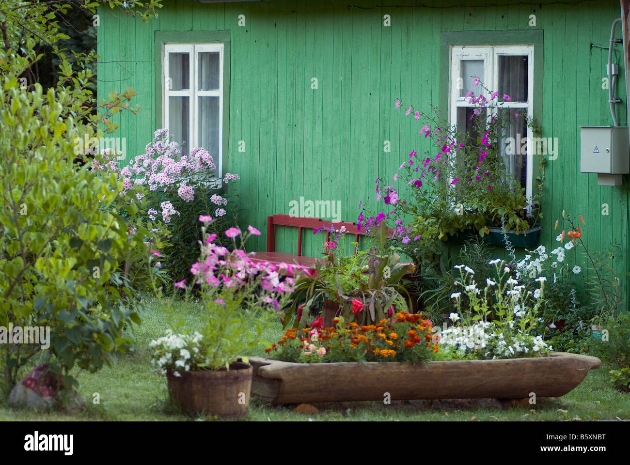 green timber cottage with nice flower garden in the region Nemunas Neman Lithuania Baltic states - Stock Image