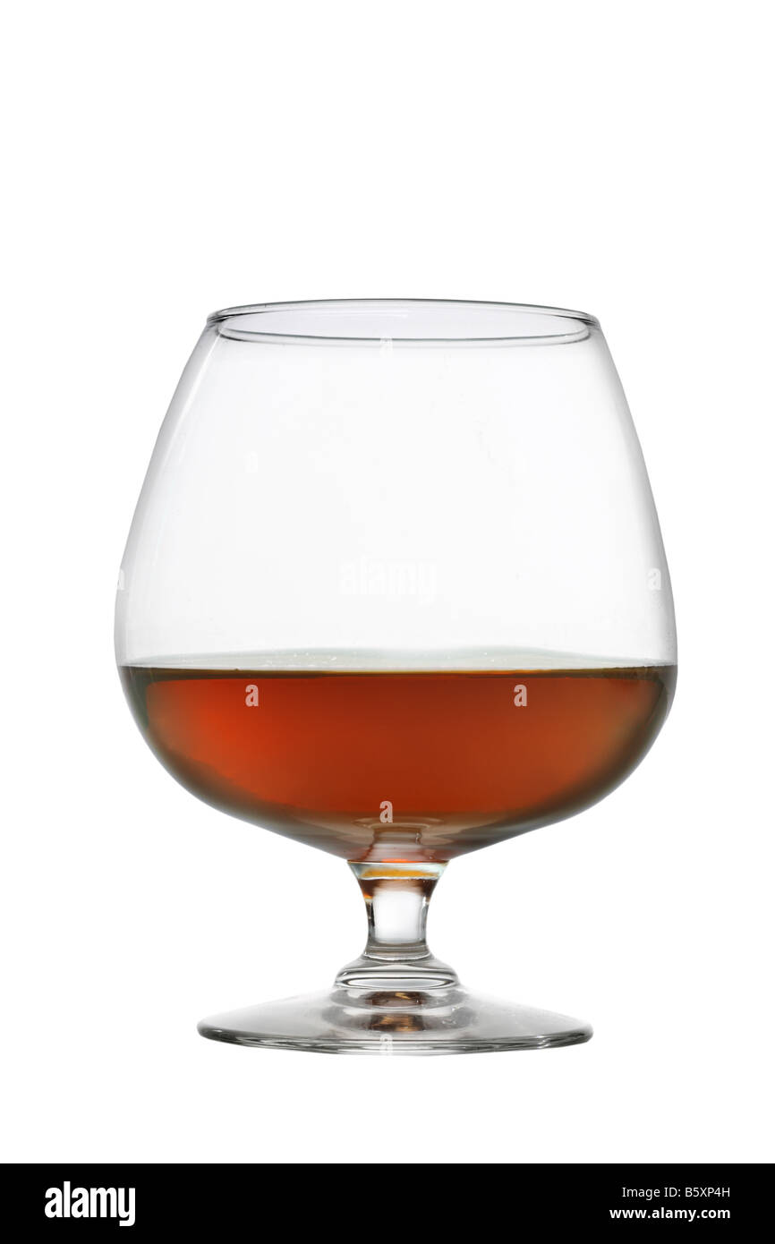 Glass of brandy cutout isolated on white background Stock Photo