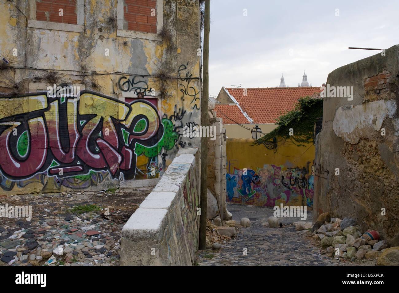 Lisbon portugal artistic graffiti