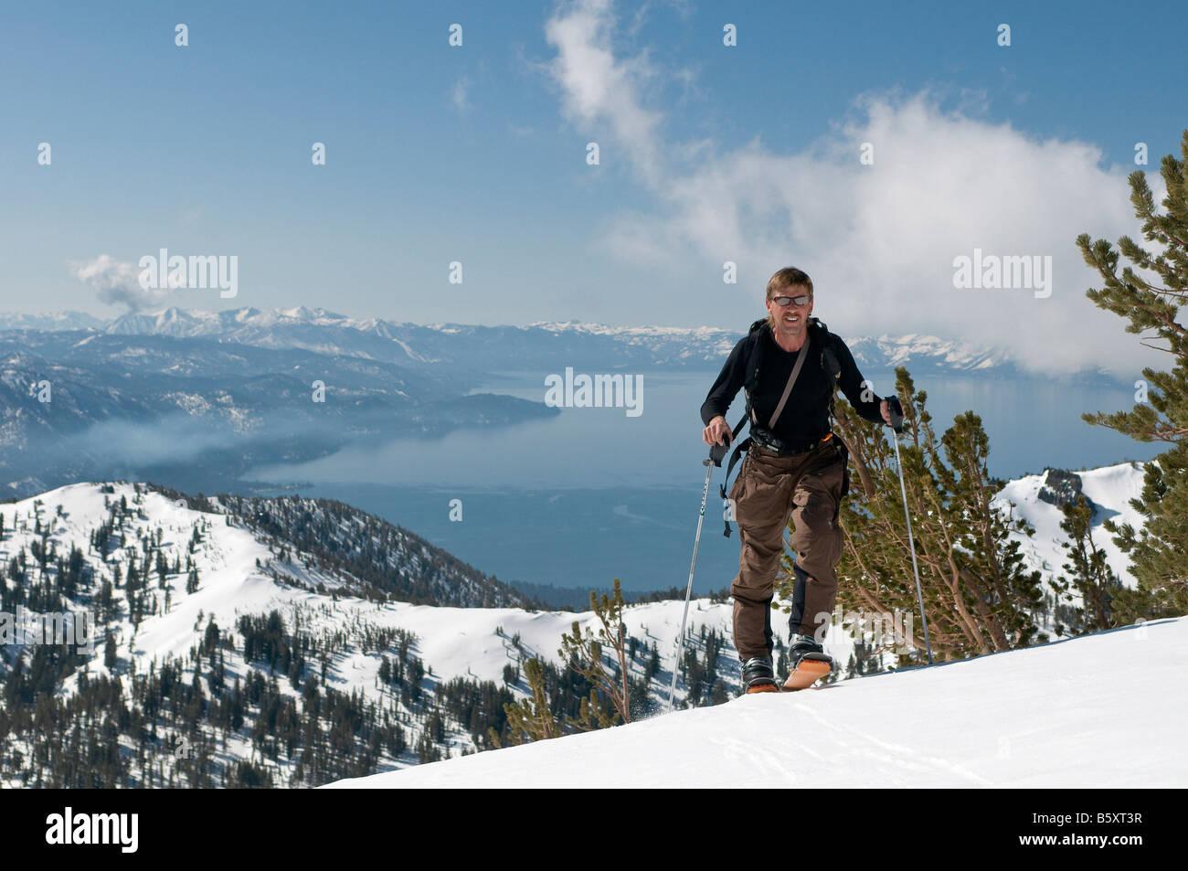 John Holleman above lake tahoe near Mt. Rose summit, Nevada, USA Stock Photo