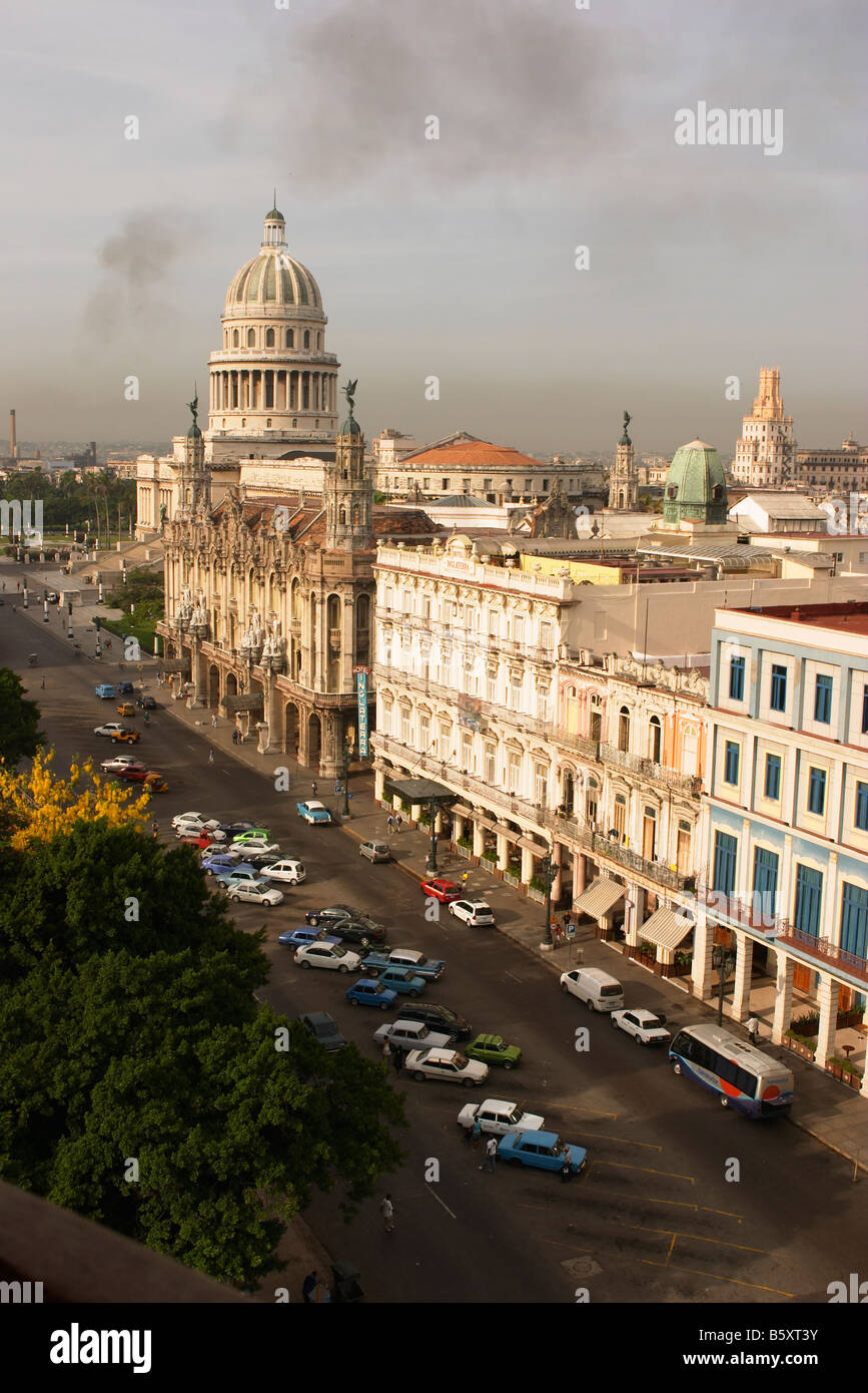 Capitolio Nacional with the Inglaterra and Telegrafo hotels in the foreground, Havana, Cuba. - Stock Image