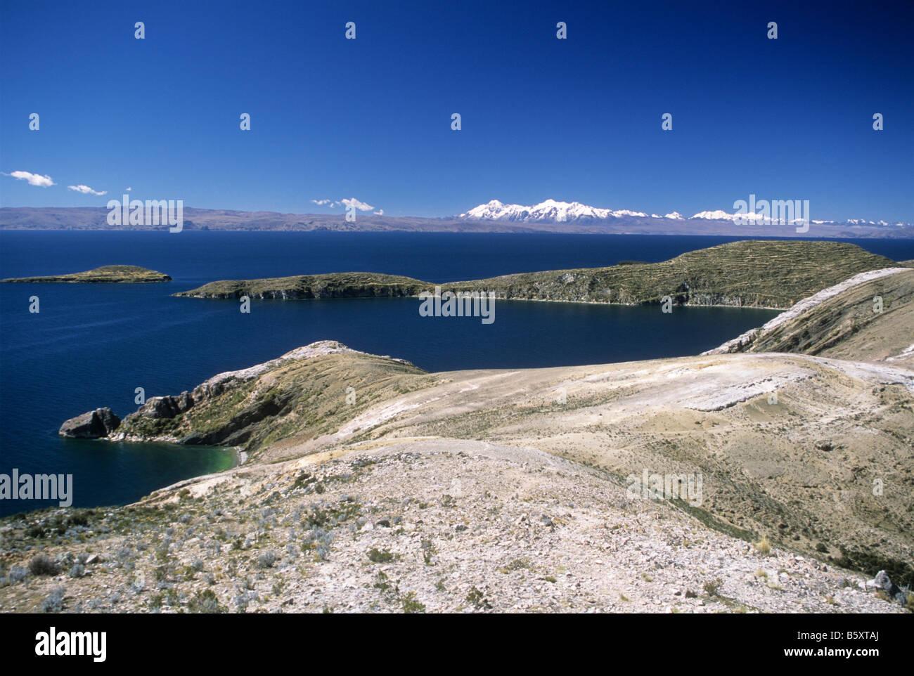 View of Cordillera Real range from Sun Island, Lake Titicaca, Bolivia - Stock Image