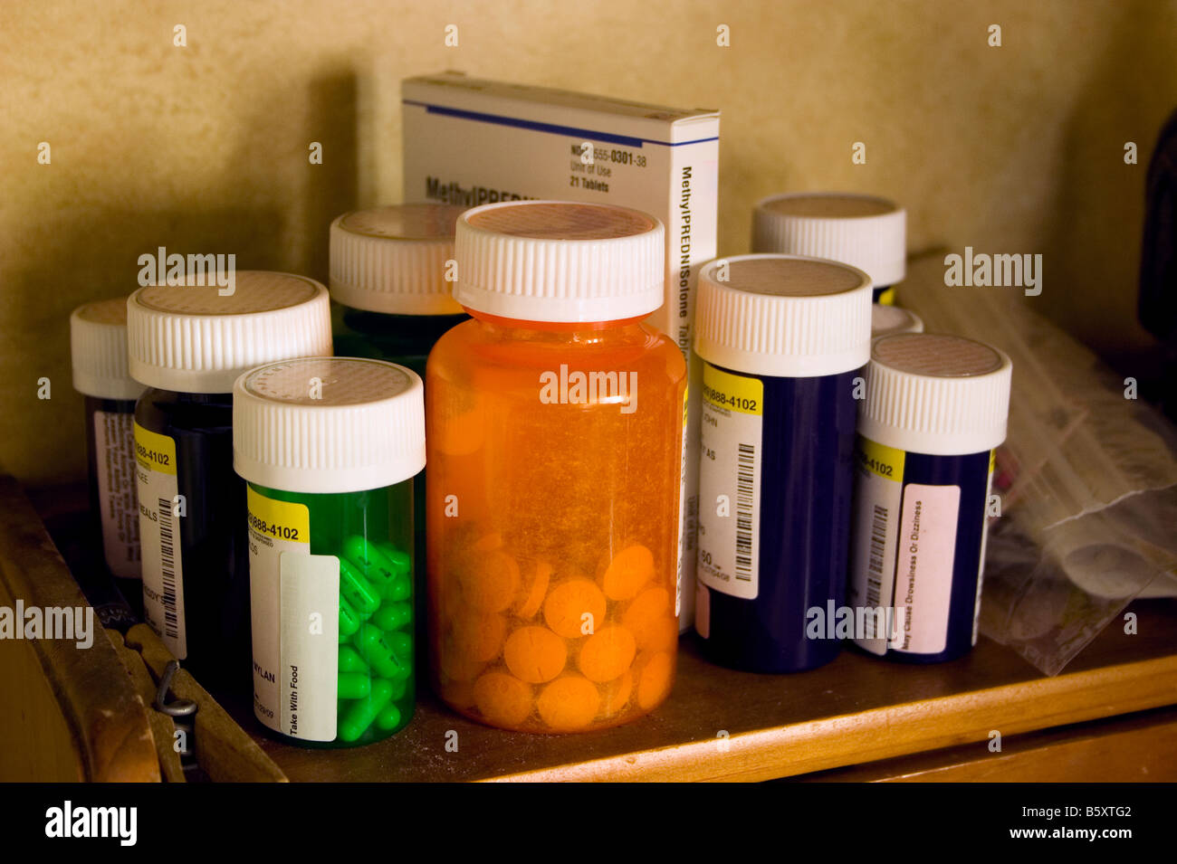 Prescription drugs are stored out and in easy reach for daily use. - Stock Image