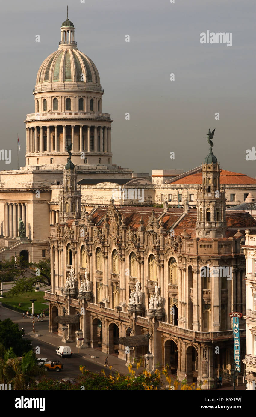 The Capitolio Nacional, near Parque Central in Havana, Cuba. With the Hotel Inglaterra in the foreground. - Stock Image